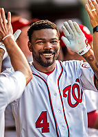 15 August 2017: Washington Nationals outfielder Howie Kendrick celebrates in the dugout after hitting his 100th MLB career home run to lead off the 3rd inning and open the scoring against the Los Angeles Angels at Nationals Park in Washington, DC. The Nationals defeated the Angels 3-1 in the first game of their 2-game series. Mandatory Credit: Ed Wolfstein Photo *** RAW (NEF) Image File Available ***