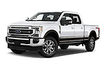Stock pictures of low aggressive front three quarter view of 2021 Ford F-250-Super-Duty Lariat 4 Door Pick-up Low Aggressive