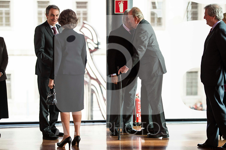 Jose Luis Rodriguez Zapatero, Queen Sofia, Felipe Gonzalez and King Juan Carlos attends to the act of imposition of the great cross of the civil order of Alfonso X el Sabio to D. Francisco Luzon Lopez at Reina Sofia Museum in Madrid. March 13, 2017. (ALTERPHOTOS/Borja B.Hojas)