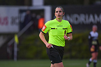 referee Caroline Lanssens pictured during a female soccer game between Sporting Charleroi and Eendracht Aalst on the 8th matchday in play off 2 of the 2020 - 2021 season of Belgian Scooore Womens Super League , tuesday 18 th of May 2021 in Marcinelle , Belgium . PHOTO SPORTPIX.BE   SPP   STIJN AUDOOREN