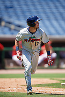 Fort Myers Miracle shortstop Joe Cronin (17) runs to first base during a game against the Clearwater Threshers on April 25, 2018 at Spectrum Field in Clearwater, Florida.  Clearwater defeated Fort Myers 9-5.  (Mike Janes/Four Seam Images)