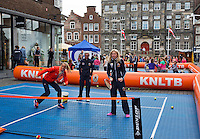 April 17, 2015, Netherlands, Den Bosch, Market square Fedcup Netherlands-Australia,  Street tennis with Michaëlla Krajicek (NED) and Arantxa Rus<br /> Photo: Tennisimages/Henk Koster
