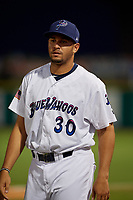Pensacola Blue Wahoos Jovani Moran (30) during a Southern League game against the Mobile BayBears on July 25, 2019 at Blue Wahoos Stadium in Pensacola, Florida.  Pensacola defeated Mobile 3-2 in the second game of a doubleheader.  (Mike Janes/Four Seam Images)