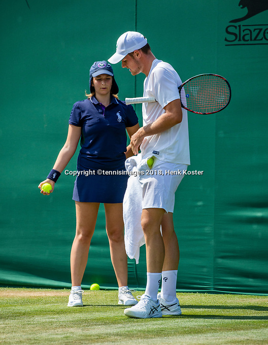 London, England, 7 th. July, 2018, Tennis,  Wimbledon, Juniors first round: Deney Wassermann (NED)<br /> Photo: Henk Koster/tennisimages.com