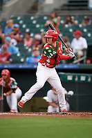 """Palm Beach Cardinals Casey Turgeon (25) at bat during a game against the Charlotte Stone Crabs on July 22, 2017 at Roger Dean Stadium in Palm Beach, Florida.  The Cardinals wore special """"Ugly Sweater"""" jerseys for Christmas in July.  Charlotte defeated Palm Beach 5-2.  (Mike Janes/Four Seam Images)"""
