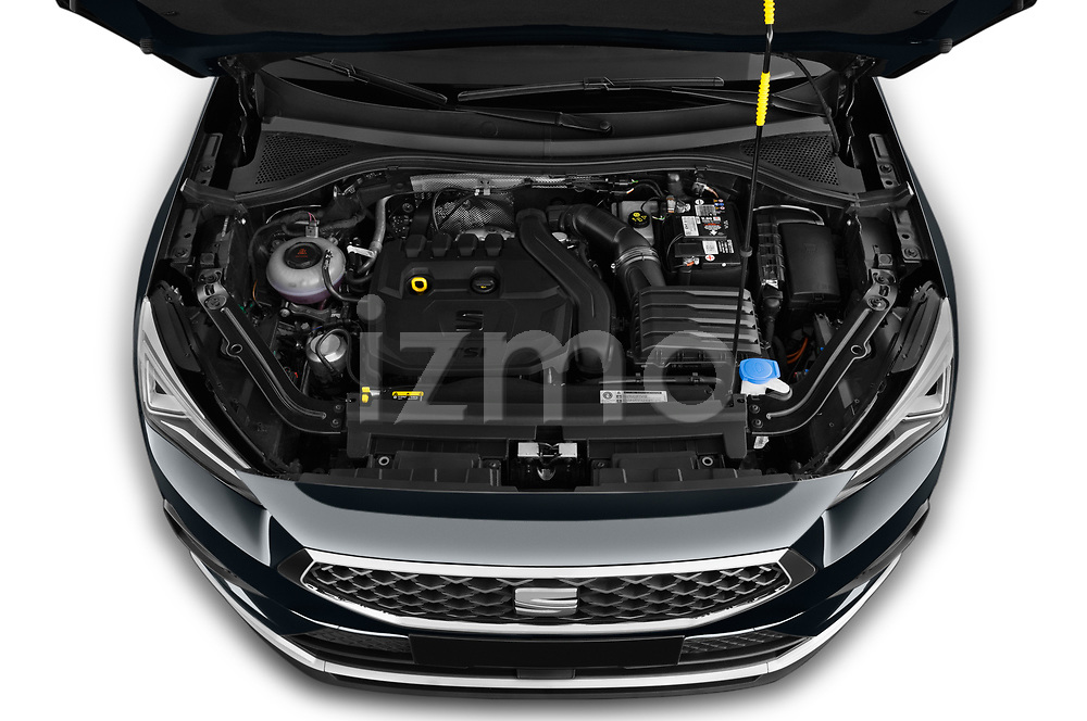 Car Stock 2019 Seat Tarraco Xcellence 5 Door SUV Engine  high angle detail view