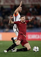 Football Soccer: UEFA Champions League  Round of 16 Second Leg, AS Roma vs FC Shakhtar Donetsk, Stadio Olimpico Rome, Italy, March 13, 2018. <br /> Roma's Edin Dzeko (r) in action with Shakhtar Donetsk's Ivan Ordets (l) during the Uefa Champions League football soccer match between AS Roma and FC Shakhtar Donetsk, at at Rome's Olympic stadium, March 13, 2018.<br /> UPDATE IMAGES PRESS/Isabella Bonotto
