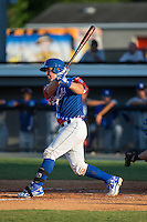 Zane Evans (17) of the Burlington Royals follows through on his swing against the Bluefield Blue Jays at Burlington Athletic Stadium on June 26, 2016 in Burlington, North Carolina.  The Blue Jays defeated the Royals 4-3.  (Brian Westerholt/Four Seam Images)