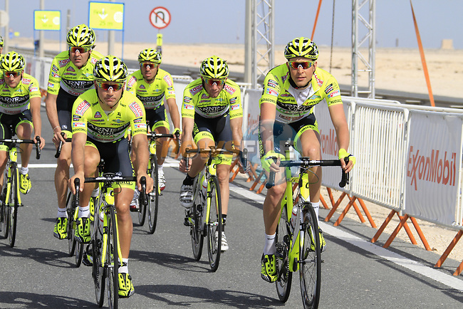 The Farnese Vini-Selle Italia team warm up before the 2nd Stage of the 2012 Tour of Qatar an 11.3km team time trial at Lusail Circuit, Doha, Qatar. 6th February 2012.<br /> (Photo Eoin Clarke/Newsfile)