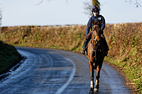 Pictured: Sean Bowen rides a horse. Wednesday 10 January 2018<br /> Re: Peter Bower Racing in Little Newcastle, west Wales, UK.