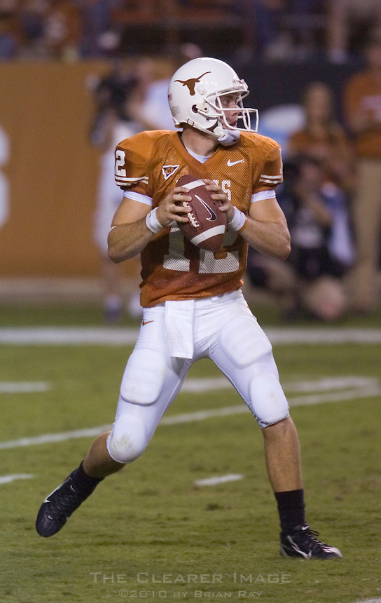 09 September 2006: Texas quarterback Colt McCoy prepares to unleash a pass during the Texas Longhorns 24-7 loss to the Ohio State Buckeyes at Darrell K Royal Memorial Stadium in Austin, TX.