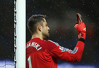 Swansea City goalkeeper Lukasz Fabianski issues instructions during the Barclays Premier League match between Manchester City and Swansea City played at the Etihad Stadium, Manchester on December 12th 2015