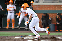 University of Tennessee Evan Russell (6) runs to first base during a game against Western Illinois at Lindsey Nelson Stadium on February 15, 2020 in Knoxville, Tennessee. The Volunteers defeated Leathernecks 19-0. (Tony Farlow/Four Seam Images)