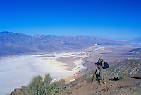 Death Valley National Park, California, CA, USA - Photographer taking a Picture of Badwater Basin, Salt Flats, and Panamint Mountains, from Dante's View