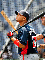4 July 2009: Atlanta Braves shortstop Diory Hernandez prepares for batting practice prior to a game against the Washington Nationals at Nationals Park in Washington, DC. The Nationals rallied to defeat the Braves 5-3 to take the second game and tie the 3-game weekend series. Mandatory Credit: Ed Wolfstein Photo