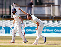 Danny Lamb bowls for Lancashire during Kent CCC vs Lancashire CCC, LV Insurance County Championship Group 3 Cricket at The Spitfire Ground on 24th April 2021