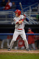 Auburn Doubledays right fielder Jonathan Pryor (7) at bat during a game against the Batavia Muckdogs on September 6, 2017 at Dwyer Stadium in Batavia, New York.  Auburn defeated Batavia 6-3.  (Mike Janes/Four Seam Images)