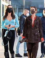US models Irina Shayk, Gigi Hadid and Bella Hadid are leaving the Versace's headquarters in Milan during Milan Fashion Week. Milan (Italy) on February 28th, 2021.Credit: ActionPress/MediaPunch **FOR USA ONLY**