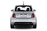 Straight rear view of 2019 Fiat 500e Battery-Electric 3 Door Hatchback Rear View  stock images