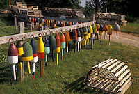 AJ4483, lobster traps, buoys, Maine, Colorful lobster buoys and lobster traps for sale on Mount Desert Island in the state of Maine.