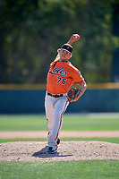Baltimore Orioles pitcher Zeke McGranahan (76) delivers a pitch during a minor league Spring Training game against the Tampa Bay Rays on March 29, 2017 at the Buck O'Neil Baseball Complex in Sarasota, Florida.  (Mike Janes/Four Seam Images)