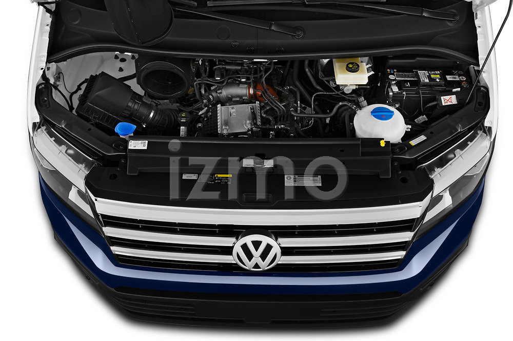 Car Stock 2020 Volkswagen Grand-California 600 4 Door Refrigerated Van Engine  high angle detail view