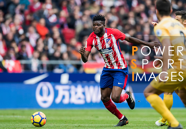 Thomas Teye Partey of Atletico de Madrid in action during the La Liga 2017-18 match between Atletico de Madrid and Girona FC at Wanda Metropolitano on 20 January 2018 in Madrid, Spain. Photo by Diego Gonzalez / Power Sport Images