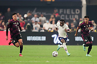 LAS VEGAS, NV - AUGUST 1: George Bello #21 of the United States during a game between Mexico and USMNT at Allegiant Stadium on August 1, 2021 in Las Vegas, Nevada.
