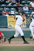 Alex Muzzi (31) of the Long Beach State Dirtbags bats against the Nebraska Cornhuskers in the first game of a doubleheader at Blair Field on March 5, 2016 in Long Beach, California. Long Beach State defeated Nebraska, 1-0. (Larry Goren/Four Seam Images)