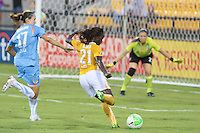 Eniola Aluko (21) of the Atlanta Beat takes a shot on goal and Keeley Dowling (14) of Sky Blue FC pursues. Sky Blue FC defeated the Atlanta Beat 2-1 during a Women's Professional Soccer (WPS) match at KSU Atlanta Beat Stadium Kennesaw, GA, on August 7, 2010...