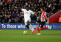Pictured L-R: Bafetimbi Gomis against Eljero Elia of Southampton Sunday 01 February 2015<br />