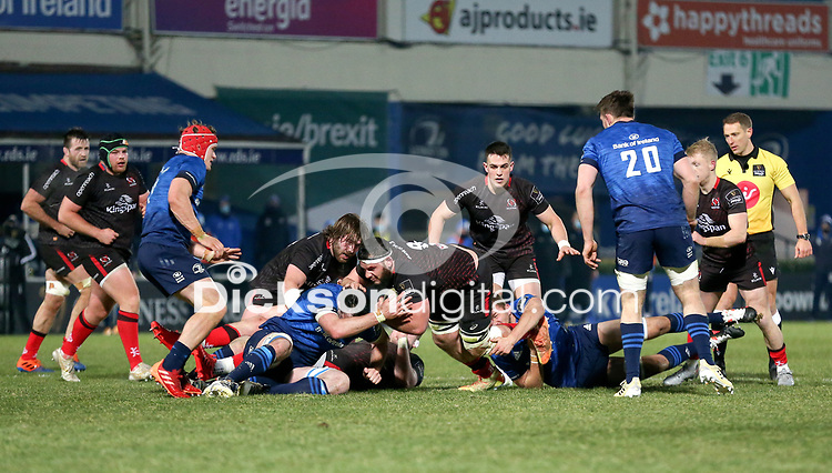8th January 2021 | Leinster vs Ulster <br /> <br /> Marcell Coetzee is tackled by Ross Molony during the PRO14 Round 11 clash between Leinster Rugby and Ulster Rugby at the RDS Arena, Ballsbridge, Dublin, Ireland. Photo by John Dickson/Dicksondigital