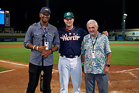Daytona Tortugas Gavin LaValley (32) is presented with the Most Valuable Player Award by Will Kent of Bush's (left) and Ken Carson of MiLB (right) after the Florida State League All-Star Game on June 17, 2017 at Joker Marchant Stadium in Lakeland, Florida.  FSL North All-Stars  defeated the FSL South All-Stars  5-2.  (Mike Janes/Four Seam Images)