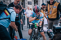 Bjorg Lambrecht (BEL/Lotto-Soudal) after just becoming 2nd / silver medalist<br /> <br /> MEN UNDER 23 ROAD RACE<br /> Kufstein to Innsbruck: 180 km<br /> <br /> UCI 2018 Road World Championships<br /> Innsbruck - Tirol / Austria
