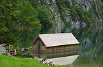Deutschland, Bayern, Oberbayern, Berchtesgadener Land, Bootshaus der Fischunkelalm am Obersee im Nationalpark Berchtesgaden | Germany, Upper Bavaria, Berchtesgadener Land, Boathouse at Upper Lake in Berchtesgaden National Park