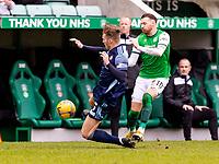 20th February 2021; Easter Road, Edinburgh, Scotland; Scottish Premiership Football, Hibernian versus Hamilton Academical; Jamie Hamilton of Hamilton fouls Martin Boyle of Hibernian and is sent off