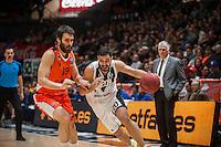 VALENCIA, SPAIN - JANUARY 6: Fernando San Emeterio and Thomas Kottas during EUROCUP match between Valencia Basket and PAOK Thessaloniki at Fonteta Stadium on January 6, 2015 in Valencia, Spain