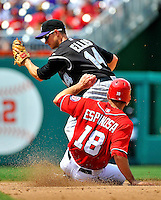 10 July 2011: Colorado Rockies second baseman Mark Ellis gets the force at second, ahead of a sliding Danny Espinosa of the Washington Nationals at Nationals Park in Washington, District of Columbia. The Nationals shut out the visiting Rockies 2-0 salvaging the last game their 3-game series at home prior to the All-Star break. Mandatory Credit: Ed Wolfstein Photo