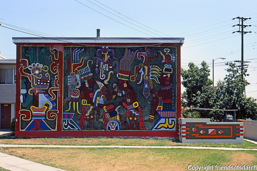 Los Angeles: Mural  on Estrada Court in Boyle Heights area. Photo '85.