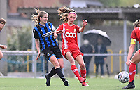 Raquel Viaene (5) of Club Brugge pictured in a duel with Perrine Balant (19) of Standard  during a female soccer game between Club Brugge Dames YLA and Standard Femine de Liege on the seventh matchday in Play-Off 1 of the 2020 - 2021 season of Belgian Scooore Womens Super League , saturday 15 May 2021  in Brugge , Belgium . PHOTO SPORTPIX.BE | SPP | DAVID CATRY