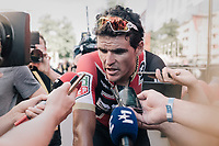 pre-stage favorite Greg Van Avermaet (BEL/BMC) is much sollicited by th epress while warming down after the stage<br /> <br /> 104th Tour de France 2017<br /> Stage 14 - Blagnac › Rodez (181km)
