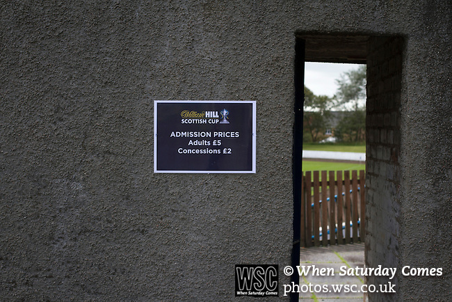 Harestanes AFC v Girvan FC, 15/08/2015. Scottish Cup preliminary round, Duncansfield Park. A poster attached to a turnstile wall before Harestanes AFC versus Girvan FC, a Scottish Cup preliminary round tie, staged at Duncansfield Park, home of Kilsyth Rangers. The home team were the first winners of the Scottish Amateur Cup to be admitted directly into the Scottish Cup in the modern era, whilst the visitors participated as a result of being members of both the Scottish Football Association and the Scottish Junior Football Association. Girvan won the match by 3-0, watched by a crowd of 300, which was moved from Harestanes ground as it did not comply with Scottish Cup standards. Photo by Colin McPherson.