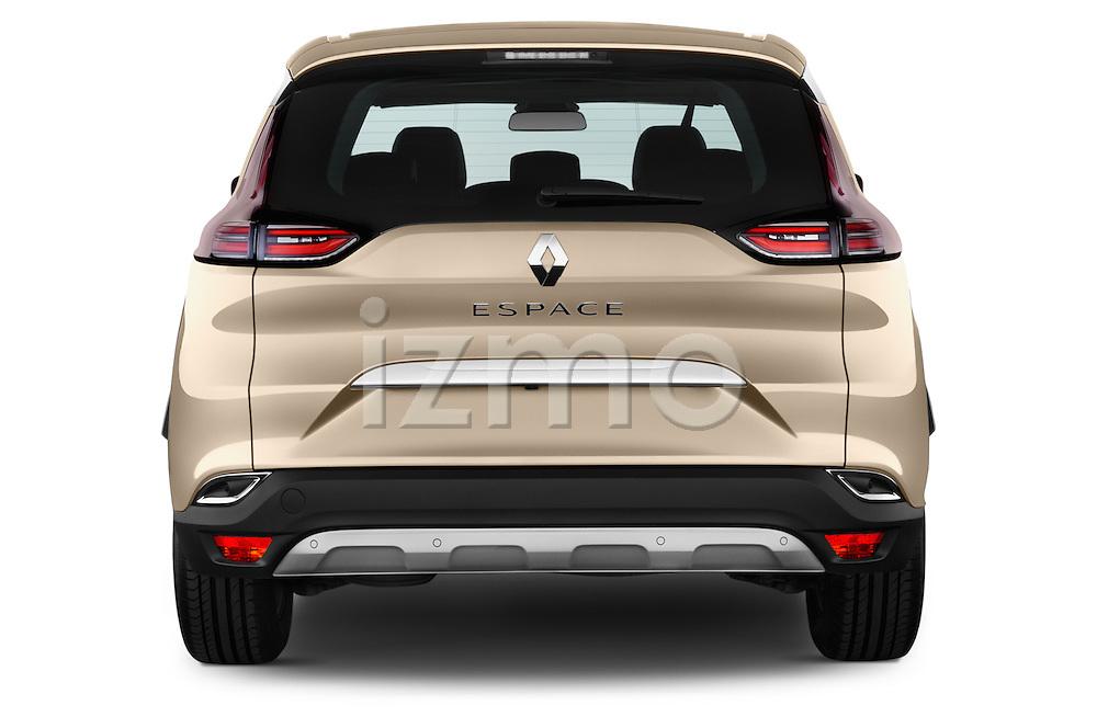 Straight rear view of2015 Renault Espace Intens 5 Door Minivan Rear View  stock images