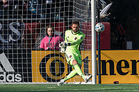 FOXBOROUGH, MA - MARCH 7: Kenneth Kronholm #18 of Chicago Fire takes a goal kick during a game between Chicago Fire and New England Revolution at Gillette Stadium on March 7, 2020 in Foxborough, Massachusetts.