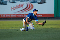 Burlington Royals left fielder Colby Schultz (13) makes a diving catch during the game against the Kingsport Mets at Burlington Athletic Stadium on July 27, 2018 in Burlington, North Carolina. The Mets defeated the Royals 8-0.  (Brian Westerholt/Four Seam Images)