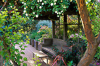 Brick path under vine covered gazebo, pergola with bench in Simpson Garden. Plant Design by Suzanne Porter.