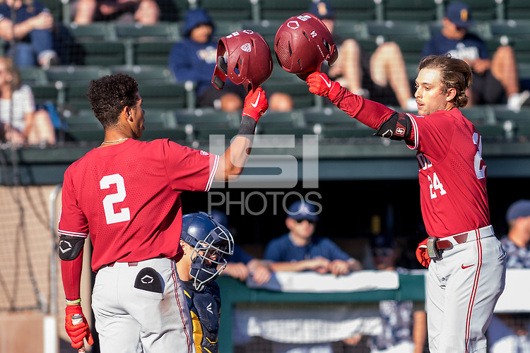 STANFORD, CA - JUNE 6: Drew Bowser and Nick Brueser during a game between UC Irvine and Stanford Baseball at Sunken Diamond on June 6, 2021 in Stanford, California.