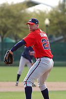 Asher Demme pitches at the Atlanta Braves Minor League Spring Training site at the Disney Wide World of Sports, Lake Buena Vista, Fla., on March 19, 2004. (Tom Priddy/Four Seam Images)