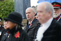 Pictured: Labour MP for Swansea Geraint Davies during the service. Sunday 11 November 2018<br /> Re: Commemoration for the 100 years since the end of the First World War on Remembrance Day at the Swansea Cenotaph in south Wales, UK.