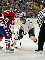 3 February 2008: University of Vermont Catamounts' forward Jonathan Higgins, a Sophomore from Stratham, NH, faces off against the University of Massachusetts Lowell River Hawks at Gutterson Fieldhouse in Burlington, Vermont. The Catamounts defeated the River Hawks 3-2...Mandatory Photo Credit: Ed Wolfstein Photo
